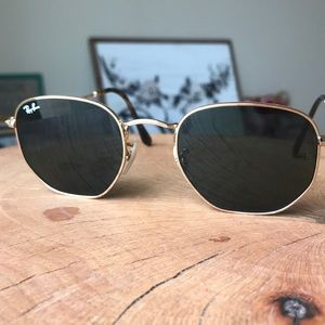 Ray-Ban black and gold hexagon sunglasses